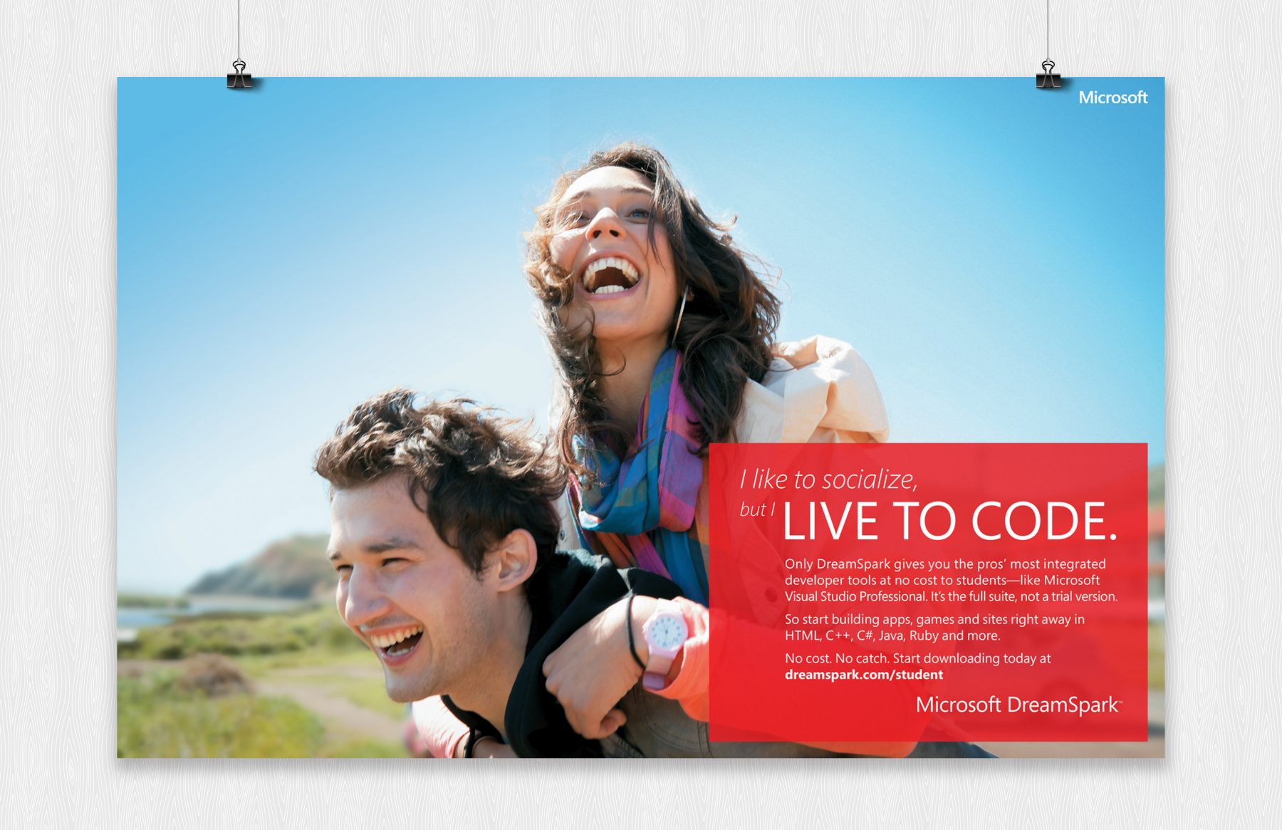 microsoft live to code poster social